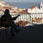 Gitarrist im Sonnenuntergang